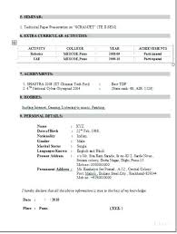 Sample Ece Resume For A Candidate Of B Tech In Resumes Sample
