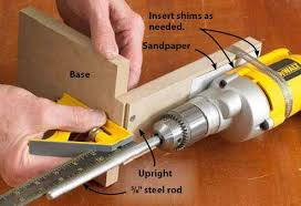 drum sander for drill. chuck a sanding drum into the drill so top edge of is about 1\u2044 8 \ sander for r