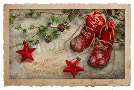 Retro Holidays Vintage Style Christmas Postcard Retro Stock Photo Colourbox