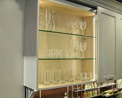Glass Kitchen Cabinet Interior With Thin Profile, Low Voltage LED Lighting
