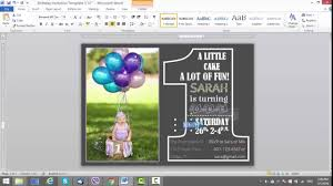invitation t 1st birthday invitation template for ms word youtube