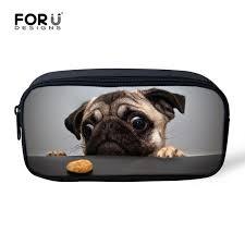 small cute pug dog print women make up bags portable cosmetics bag makeup case designer