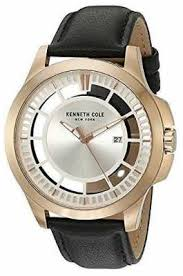 kenneth cole watches official uk retailer first class watches kenneth cole mens black leather strap silver tone dial kc10027460