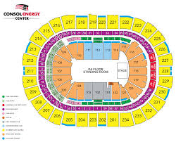 Consol Seating Chart With Seat Numbers Consol Energy Center Seating Chart