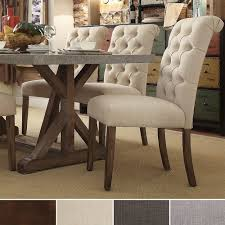 tribecca home benchwright on tufts upholstered rolled back parsons chairs set of 2 overstock ping great deals on tribecca home dining chairs