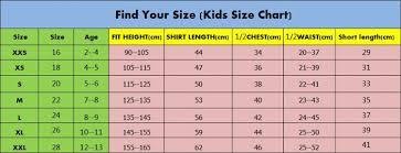 Kids Jersey Size Chart Kids Jersey Sizes Online Shopping