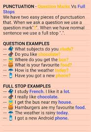 Grammar Punctuation Punctuation Question Marks Vs Full Stops English Phrases