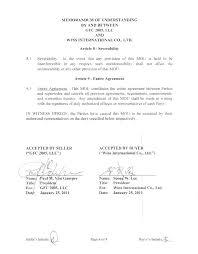 Memorandum Of Understanding Template Agreement Free Sample