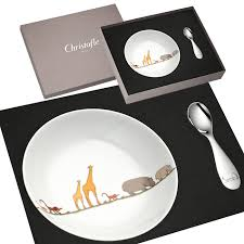 plate and spoon set bouillie baby christofle