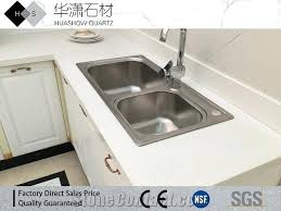 pure white quartz one sink three four tap hole all in and countertop install