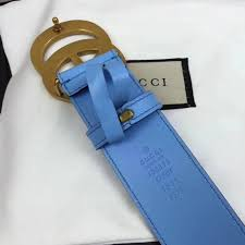 gucci leather belt with double g buckle blue 400593