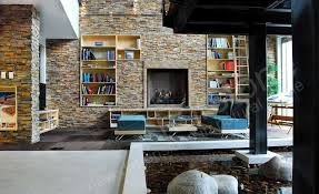 stone veneer fireplace wall in an architect lobby in denver