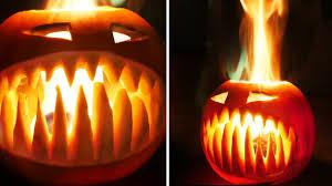 Crazy Cool Pumpkin Designs Flaming Halloween Pumpkin With Fangs