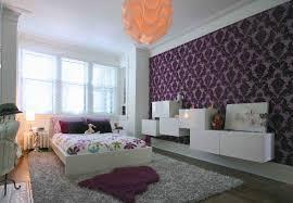 purple abstract bedroom wallpaper idea
