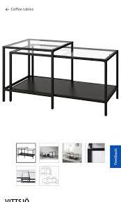 nest of tables set of 2 black glass