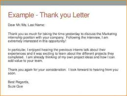 Internship Interview Thank You Letter Competent Accounting Intern