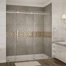 Completely Frameless Sliding Shower Door in Stainless Steel-SDR976-SS-72-10  - The Home Depot