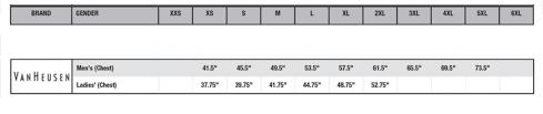 Van Heusen Size Chart Size Chart Van Heusen
