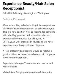 Salon Receptionist Job Description Beauty Salon Slammed On Social Media After It Advertised For