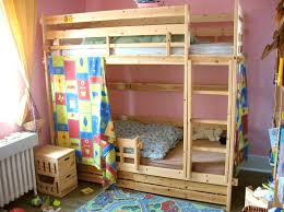fantastic kids wooden bunk beds bedroom oak wood bunk bed for kids with colorful curtain