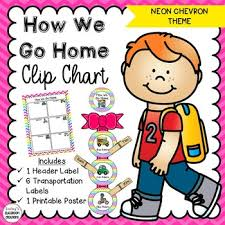 How We Go Home Chart Printable How We Go Home Clip Chart Neon Chevron Theme Classroom