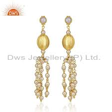 gold plated 92 5 sterling silver indian traditional chandelier earring supplier