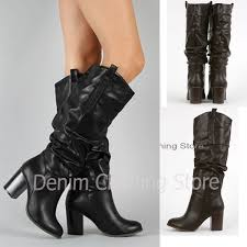 details about women s faux leather knee high chunky heel winter boots solid black size 6 8 5