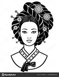 古代の髪型と若い韓国人の女の子の肖像画モノクロ ベクトル イラスト白