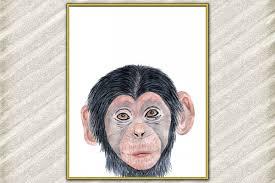 Baby Monkey Safari Animal Poster Watercolor Animals Prints