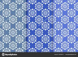 Blauwe Bloemen Ornamenten Aantal Verticale Naadloze Patronen Voor