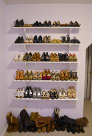 furniture five rectangle white wooden floating shoe shelves on white wall theme adorable shoe