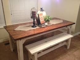 Rustic Kitchen Table With Bench Barn Rustic Dining Table And Bench