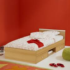 Low Profile Single Bed Design With Under Bed Drawer Storage Also Red