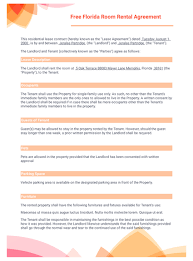 Lease Agreement Format Free Florida Room Rental Agreement Template Pdf Templates