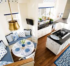 open kitchen dining room designs. Chic Open Kitchen Dining Room Interior Design By Sara Gilbane Small White Blue With Round Table Corner Custom Built In Bench Designs