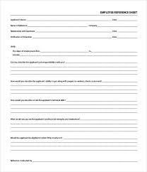 Employment Reference Sheet Reference Sheet Template 30 Free Word Pdf Documents Download