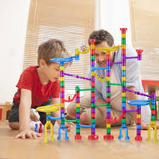 127 marble run race set creative building block space rail track marblestoy game