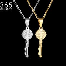 whole new design gold color saint benedict medal key necklace stainless steel catholic church jewelry necklace for women girls gold pendant necklace