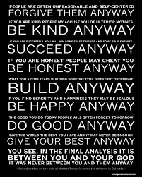 Mother Teresa Quotes Love Anyway Impressive Mother Teresas Do It Anyway Poem Ready To Hang Canvas Gallery 48