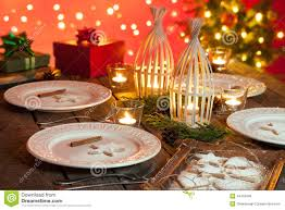 Christmas Table Setting Christmas Table Setting Rustic Style Natural Decorations Stock