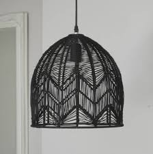 black woven rattan pendant lamp ella james