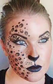 leopard half face makeup
