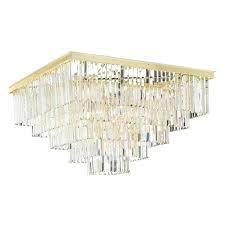 retro palladium crystal glass fringe 5 tier flush mount chandelier gold leaf