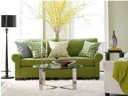 Fabulous Modern Style Green Sofas Round Glass Coffee Table