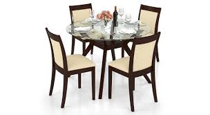 Glass top dining sets Round Wesley Dala Seater Round Glass Top Dining Table Set Lb Urban Ladder Wesley Dalla Seater Round Glass Top Dining Table Set Urban Ladder