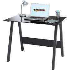 Stylish Desk Piranha Quality Home Office Stylish And Compact Black Glass