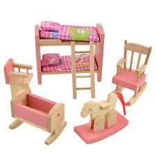 Wooden Doll Bathroom Furniture Bunk Bed House Miniature Children