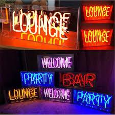 <b>Vintage</b> Metal Box <b>LOUNGE</b> Bar <b>Neon</b> Sign Tube Light Real Glass ...