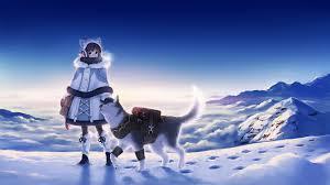Wallpaper : anime girls, dog, snow ...