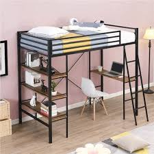twin size metal loft bed frame with